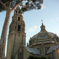 A view of the San Diego Museum of Man in Balboa Park at sunset.
