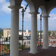A view of downtown Santa Barbara from the county administration building tower, including the Granada Theater building.