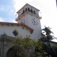A view of exterior of the Santa Barbara county administration building, including the clock tower.