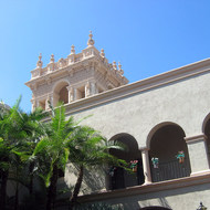 A view from the interior courtyard of the House of Hospitality in Balboa Park.