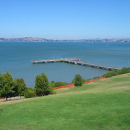Paradise Beach State Park in Marin County, looking across the San Francisco Bay to Richmond.