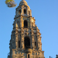 A view of the tower of the San Diego Museum of Man at sunset.