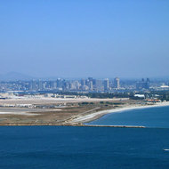 A view of Coronado Island and San Diego from Point Cabrillo State Park.