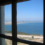 A view of San Diego from a window of the Old Point Loma Lighthouse at Cabrillo National Monument.