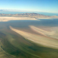 A view of the Great Salt Lake from a commercial jet.