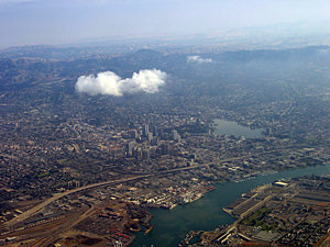 Thumbnail image ofA view of downtown Oakland and part of Alameda.