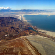 A view of the southern reach of the Great Salt Lake, and Interstate 80.