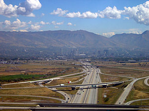 Thumbnail image ofA view of Salt Lake City from a landing commercial...