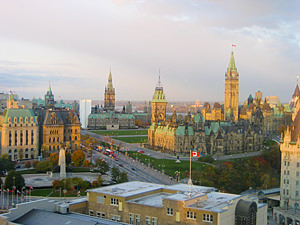 Thumbnail image ofThe capital complex in Ottawa from the Westin...