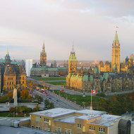 The capital complex in Ottawa from the Westin Hotel.