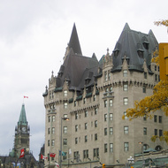 The Fairmont Chateau Laurier in Ottawa, with part of the capital complex in the background.