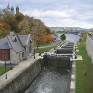 Rideau Canal, between the East Block on Parliament Hill (left) and the Fairmont Chateau Laurier (right) in Ottawa.