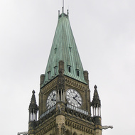 A close-up of the tower of the Centre Block of Parliament Hill in Ottawa.