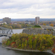 The Alexandra Bridge and Nepean Point near the National Gallery, from Parliament Hill in Ottawa.