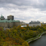 The Supreme Court of Canada (right) from Parliament Hill in Ottawa.
