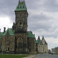 The East Block on Parliament Hill in Ottawa, with the Fairmont Chateau Laurier in the background.