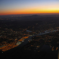 An aerial view of Alameda, Oakland, and Mount Diablo in the distance at dawn.