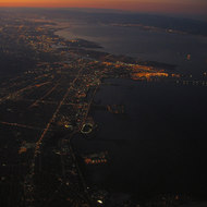 An aerial view of Berkeley, Oakland, Alameda, and toward the South Bay at dawn.
