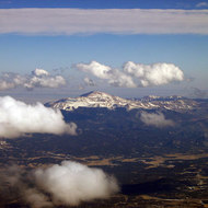 An aerial view of Pikes Peak in the Rocky Mountains.