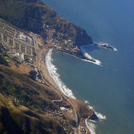 An aerial view of the Pacifica and San Pedro Rock (the point).