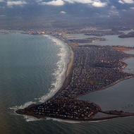 An aerial view of Nantasket Beach from a commercial jet taking off from the Boston airport.