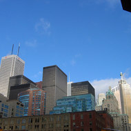 A view from Front Street of downtown Toronto high-rises.