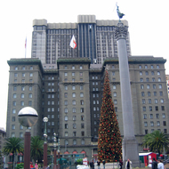 Union Square in December looking to the St. Francis Hotel.