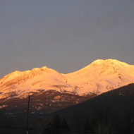 Mt. Shasta at sunset in winter (December 2006).