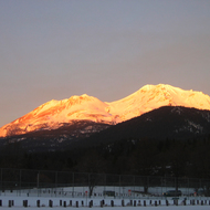 Mt. Shasta at sunset in winter (December 2006) from Shastice Park.