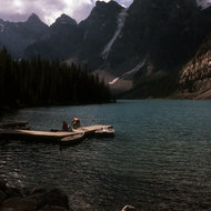 A lake in Banff National Park, Canada (look very closely for the animal perched on a rock in the foreground).