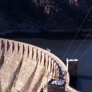 The original Roosevelt Dam (before modifications were completed in 1996) on the Gila River near Phoenix, Arizona (photo taken circa 1972).