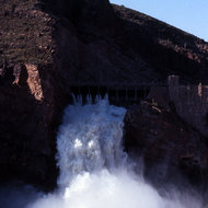 Water spilling from the original Roosevelt Dam on the Gila River near Phoenix, Arizona (photo taken circa 1972).