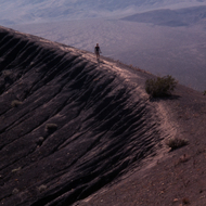 Strolling on the edge of Ubehebe Crater in Death Valley National Park.