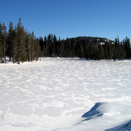 A small lake at the Royal Gorge Cross Country Ski Resort in the Sierra Nevada Mountains.