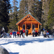 A warming hut at the Royal Gorge Cross Country Ski Resort in the Sierra Nevada Mountains.