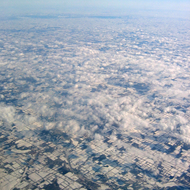 An aerial view of a winter (February 2007) landscape between Chicago and upstate New York.