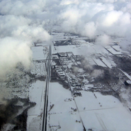 An aerial view of a snowy landscape (February 2007) near Rochester, NY.