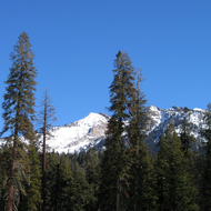 A view of the mountains in winter around Wuksachi Lodge, Sequoia National Park, California.