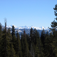 A view of the mountains in winter from Montecito Sequoia Lodge, between Sequoia and Kings Canyon National Parks.