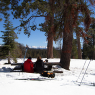 Lunchtime on a cross-country ski outing at Big Meadows, Giant Sequoia National Monument.