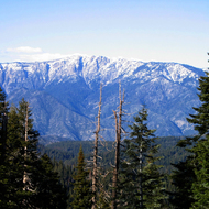 Spanish Mountain (10,051 ft.) in winter, Kings Canyon National Park, taken from the General's Highway overlook.