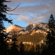 Mountains near Wuksachi Lodge at sunset in winter.