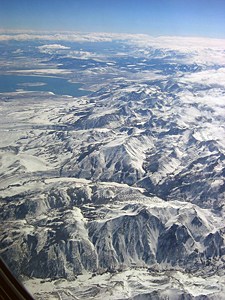 Thumbnail image of An aerial view of the crest of the Sierra Nevada...