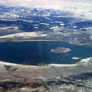 An aerial view of Mono Lake in winter.