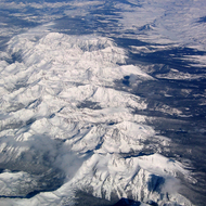 An aerial view of the Rocky Mountains, with Mt. Evans near the top.