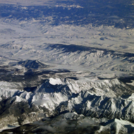 An aerial view of Mt. Evans, Colorado.