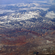 An aerial view of unidentified territory in the west, possibly Utah or Colorado.