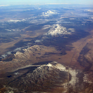 An aerial view of unidentified territory in the west, possibly Utah or Nevada.