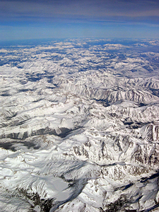 Thumbnail image of The crest of the Sierra Nevada in winter, looking...