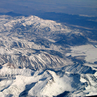 An aerial view of Sierra Nevada high country in winter.